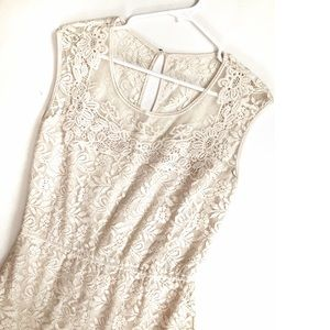 Beautiful Cream Lace Embroidered Dress Med